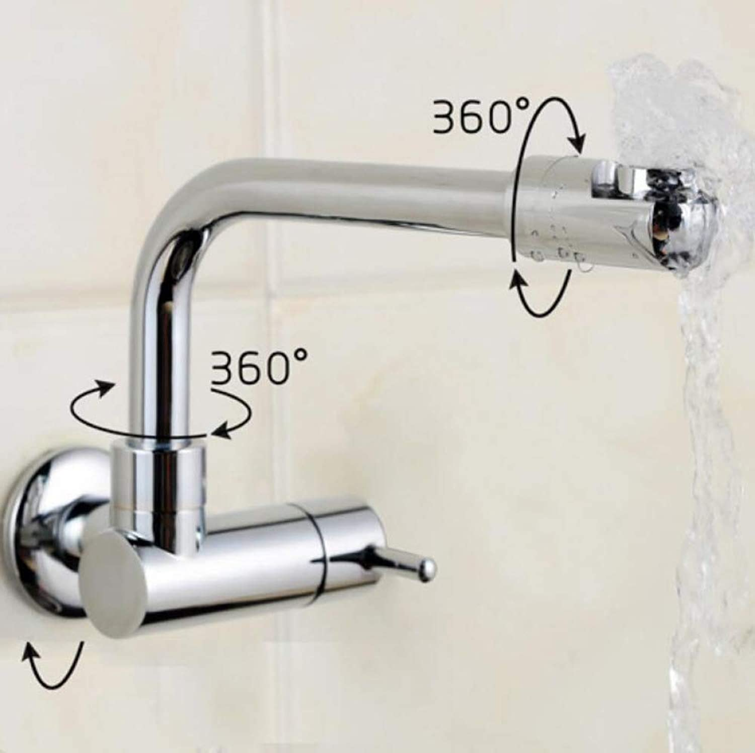 SLTYSCF Faucet SinkFine Copper 360 Degree redating Wall Faucet, Extended Single Cold Universal Kitchen Bathroom Faucet