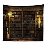 N / A Estantería mística Chimenea de Piedra Tapiz de Pared Biblioteca Creativa Brujería Tapiz de Pared Mandala Dormitorio Indio Decoración de Dormitorio R43 200x150cm