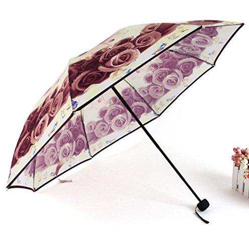 GTWP GTWP GT Regenschirm Manual Mode 3 Folding Umbrella kreative, Rosen Blumen Sonnenschirm Stockschirm Robuste Winddicht Anti-UV-Sonnenschutz Dach