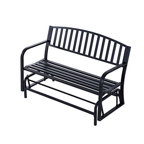 Outsunny 50' Outdoor Patio Swing Glider Bench Chair - Black