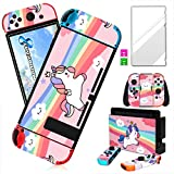 oqpa for Nintendo Switch Skin Cute Kawaii Cartoon Character Design Sticker, Funny Fun Fashion Cool Switch Game Skins for Girls Boys Kids Stickers+Tempered Glass Film for Nintendo Switch Pink Unicorn