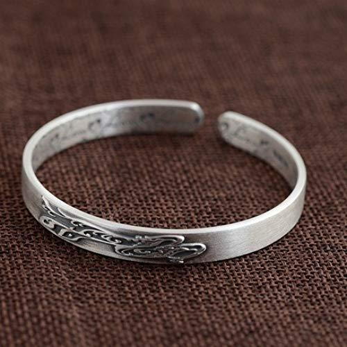 zhenfa Armband, Fuß Silber Vintage matt Silber geschnitzt offene Silber Armband, Appe für alle, Elegante Schmuck-Box, jeder Moment-schöne Geschenk