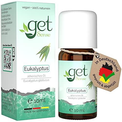 getSense - Ätherisches Öl Eukalyptus - 10 ml - 100{f5e72ef3193f15dc38d5fc6820095926adb585f8acffa2df0d4ff38e32a465bf} Naturreines Eukalyptusöl - Essential Eucalyptus Oil - Eucalyptus Globulus - Vegan - In Deutschland Abgefüllt