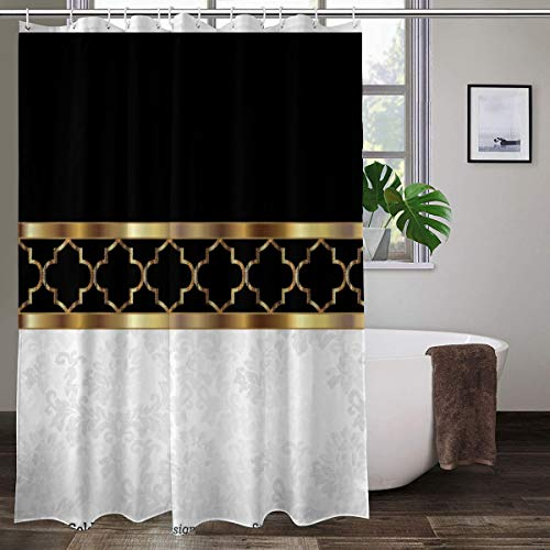 """White Black Gold Quatrefoil Damask Colorful Shower Curtain Bathroom Polyester Fabric Liner Shower Curtain with Hooks 60"""" W x 72"""" H"""