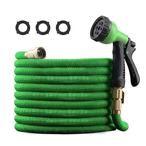 Best Expandable Garden Hose with 8-Function Spray Nozzle, 50Ft Natural Rubber Hoses with 3/4 Heavy Duty Brass Connectors, Lightweight and Kink-Free Flexible Water Hose for Lawn Car Washing Pet Shower