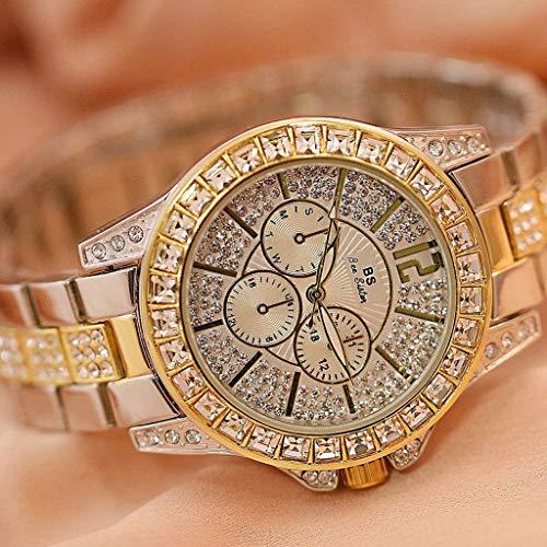 Gnaixyc Reloj Bling Mujer, Reloj De Cuarzo De Acero con Diamantes De Imitación A Prueba De Agua, Movimiento De Cuarzo,D