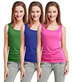 Fashion Line Cotton Lycra Tank Top for Girls/Women (Green, Dark Blue & Pink, Pack of 3)