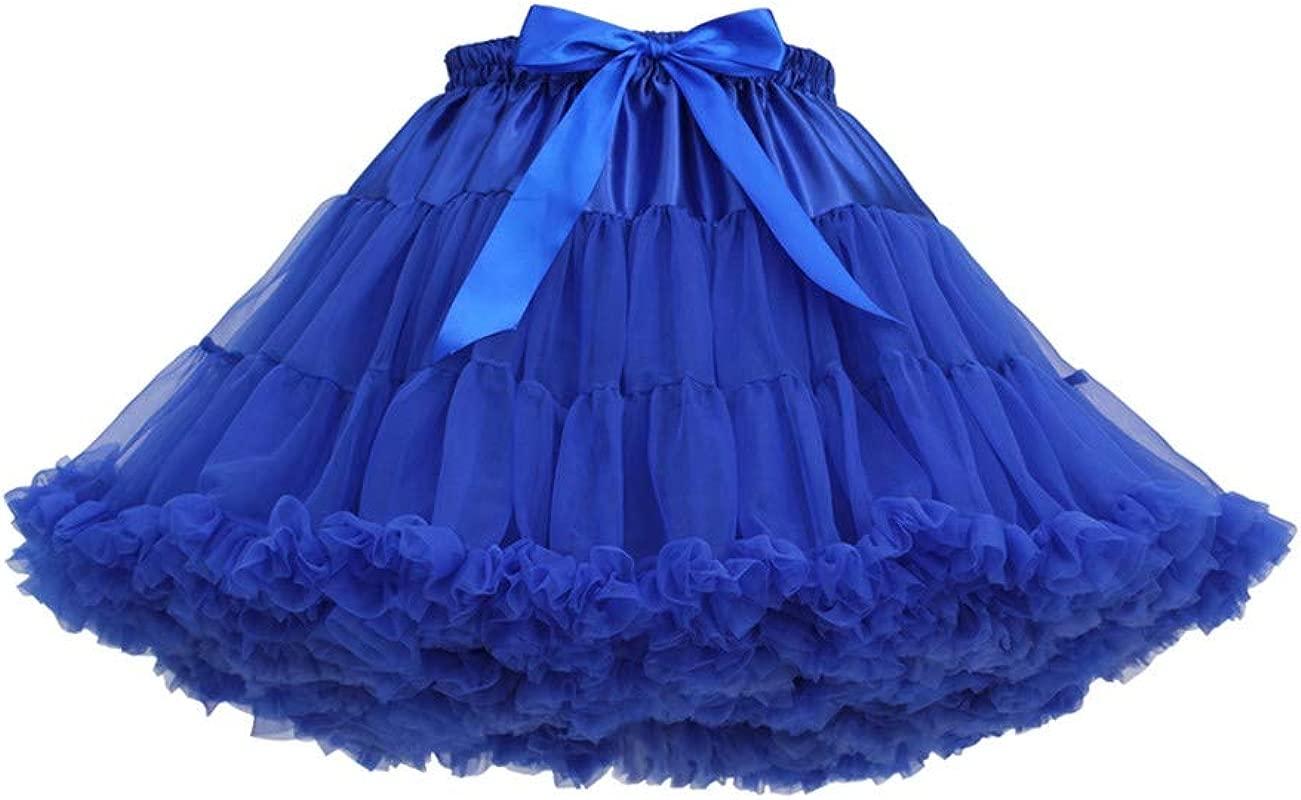 Women S Elastic Waist Chiffon Petticoat Puffy Tutu Tulle Skirt Princess Ballet Dance Underskirts