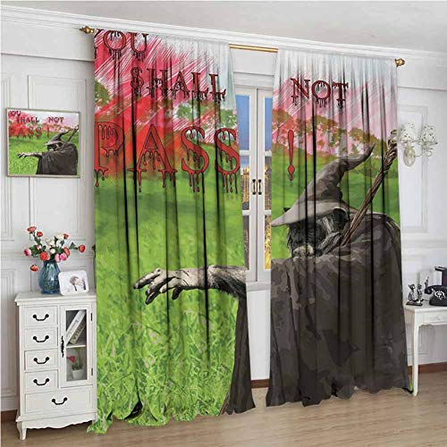 wonderr Home Decoration Thermische Geïsoleerde Gordijnen, Decor/Room Darkening Window Gordijnen, Muziek, Funky Fractal Geometrische Vierkante Gevormde Achtergrond met Akoestische Gitaar Figuur Kunst, Multi kleuren