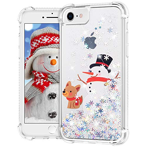 Ruky iPhone 6 6s 7 8 Christmas Case, Glitter Liquid Flowing Bling Merry Christmas Design Soft TPU Fashion Cute Women Girls Children Christmas Case for iPhone 6 6s 7 8 SE 2020 4.7 inches, Snowman&Dog