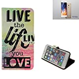 K-S-Trade Schutzhülle Für TP-LINK Neffos X1 Max Schutz Hülle 360° Wallet Hülle ''live Life Love'' Schutzhülle Handy Tasche Handyhülle Etui Smartphone Flip Cover Standfunktion (1x)