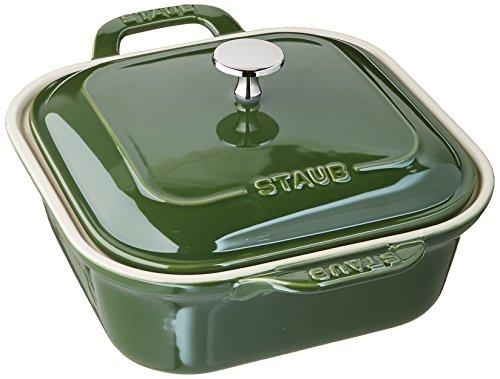 STAUB Ceramics Square Covered Baking Dish, 9x9-inch, Basil