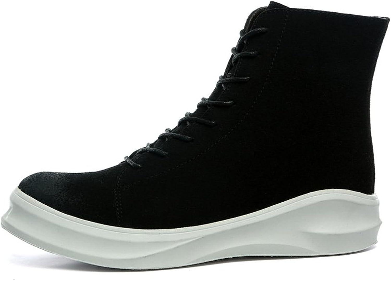 Men's Boots Round Toe Flat Heel Soft PU Leather Solid color Side Zipper Casual shoes (color   Velvet Black, Size   9MUS)