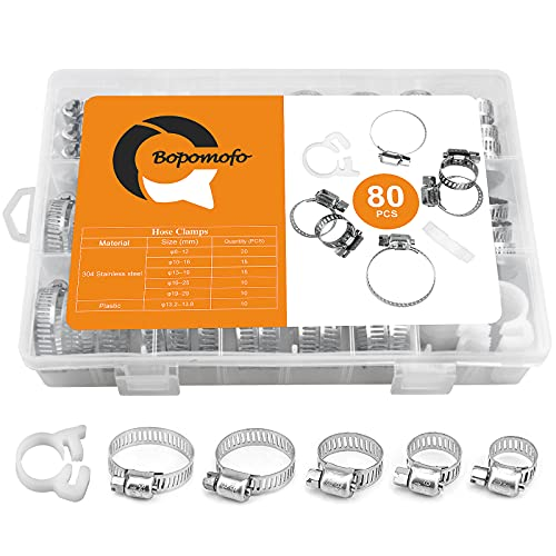 80PCS Hose Clamps, Hose Clamp kit, Worm Gear Hose Clamp,Adjustable 304 Stainless Steel Range 6-29mm, Heavy Duty Snap Grip, used in securing hoses, pipe, cable, tube, fuel lines etc.