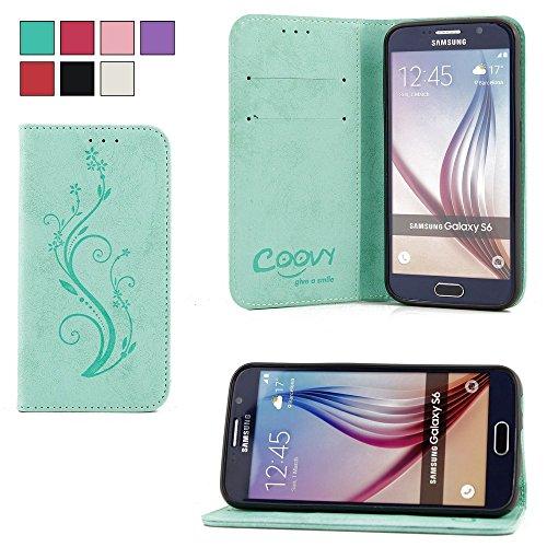 COOVY® Funda para Samsung Galaxy S6 SM-G920F SM-G920 Billetera, Ranuras para Tarjetas, Cierre magnético, Soporte, Protectora de Pantalla | Flower | Color Verde