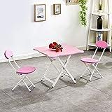 SMLZV Tabla niños y Juego de sillas, Compact Set portátil, Inicio Plegable Mesa de Comedor, Mesa de niños for niños y 2 Juego de sillas, for el Estudio de Interior y al Aire Libre Uso (Color : Pink)