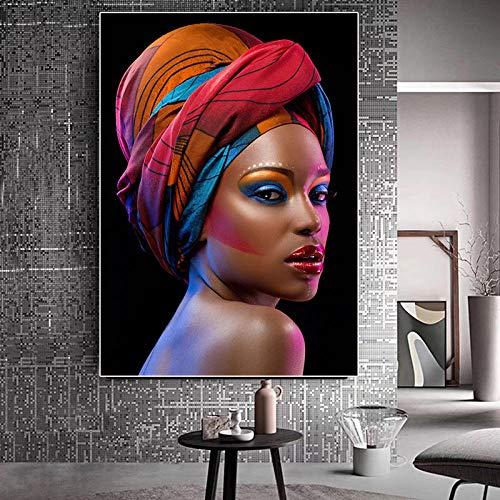 Zwarte en Afrikaanse lippenstift schilderij Scandinavische poster en prentkunst woonkamer kunst muur foto