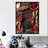 Lunderliny Rock Sugar Star Anís Pimienta Lienzo Pintura Carteles artísticos de Pared e Impresiones Cuadros de Pared de Cocina Modernos para decoración de Comedor 70x100cm