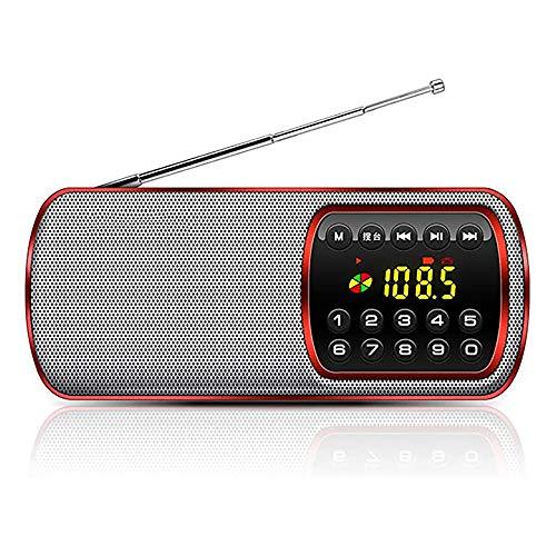 Zks Radio, Radio Portable avec Lecteur LED Lumière Carte Lecteur USB De Charge Musique Support 3,5 Mm Prise Casque pour Marche Randonnée Camping Walkman Pocket,Rouge