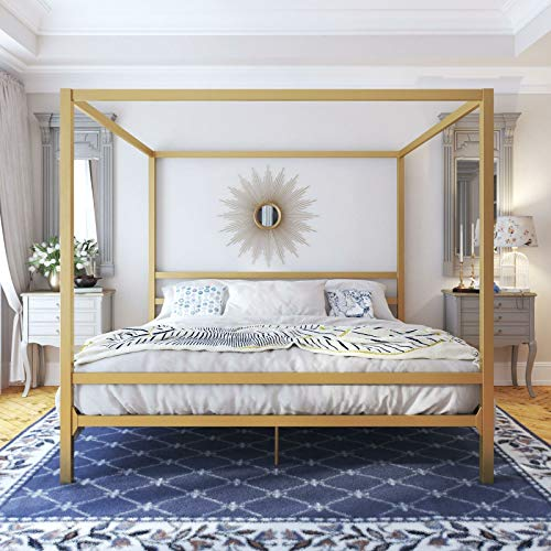 King Size Dark Gold Metal Canopy Bed Frame
