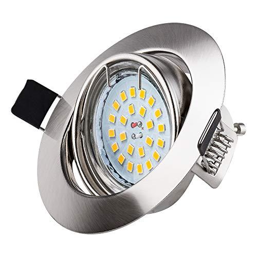 Faretti LED da Incasso Per Cartongesso wowatt Lampada da Incasso GU10 Faretti a Led 6W 600lm Luce Bianca Calda 2800K RA83 (Confezione da 10)