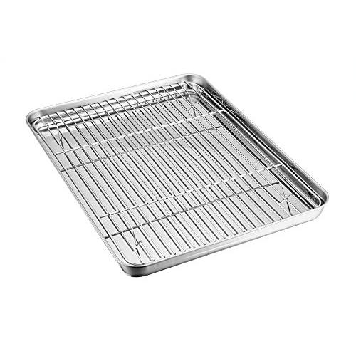 Teamfar - Teglia da forno in acciaio inox con griglia di raffreddamento, sana, atossica, lucidatura a specchio –Facile da pulire e lavabile in lavastoviglie