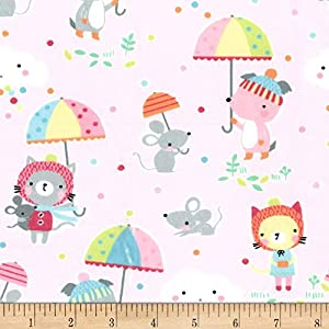 Michael Miller Minky Puddle Play Fabric by The Yard, Cupid