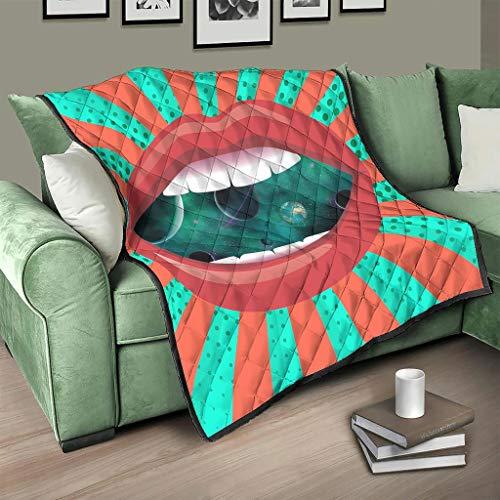 AXGM Colcha (100 x 150 cm), diseño de rayas, color rojo y verde