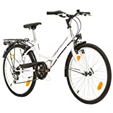 Multibrand Folding City 24 Lady, 24 Pulgadas, 457 mm, Bicicleta de montaña Plegable, 6 velocidades, para Mujeres, niña, Guardabarros Delantero y Trasero, Lustre Blanco Lilac-Gris (Blanco-Purple)