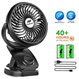 Battery Operated Clip Fan - 40 Hours Portable Mini Desk Fan with Rechargeable 4400mA Battery, USB Powered for Office Outdoor Travel (2019 Upgrade)