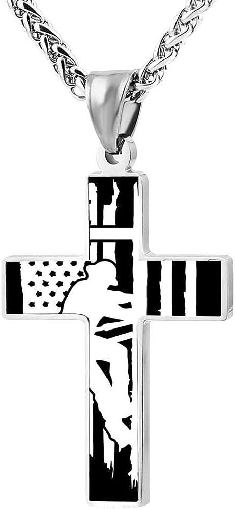 BlingDi Fashion Design Electric Lineman American Flag Zinc Alloy Religious Cross Pendant Necklace