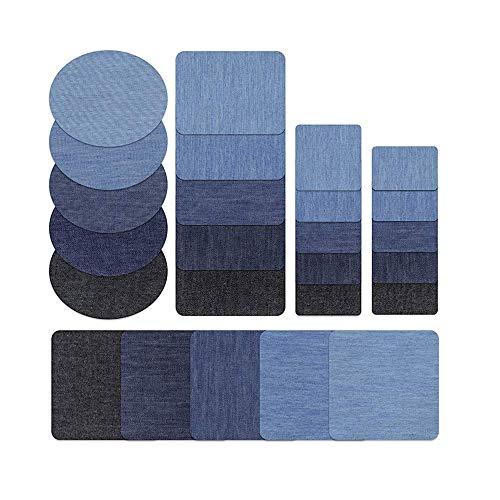 Flicken zum Aufbügeln für Jeans, Knie, Denim, Flicken zum Aufnähen, Reparatur-Set, verschiedene Farben und Größen, 25 Stück