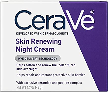 CeraVe - Skin Renewing Night Cream - Multipurpose Night Cream, Face Moisturizer, Anti Aging Face Cream & Wrinkle Cream - Moisturizer for Face w Hyaluronic Acid & Niacinamide - 48g