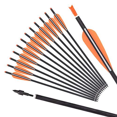 """Yls Archery 16inch Hunting Archery Carbon Arrow Crossbow Bolts with 4"""" vanes Feather and Replaced Arrowhead/Tip(Pack of 12"""
