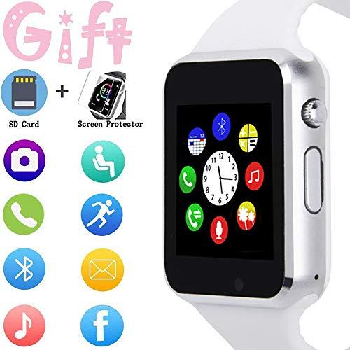 Smartwatch, Touchscreen, Sport-Armbanduhr, für Android, iOS, Schrittzähler, mit SIM-Karten-Steckplatz, Kamera, kompatibel mit Samsung, für Herren und Damen …
