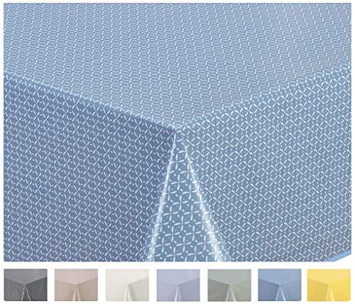 Home Direct Wachstuch Tischdecke Abwaschbar Eckig 140 x 200 cm (Blau Grau)