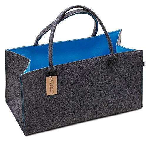 G'FELT Sac en feutre de qualité supérieure – Comme sac de courses de haute qualité, sac de plage élégant ou sac de bain, panier à journaux, panier en feutre, panier à provisions, sac à bois de cheminée robuste – Bicolore gris et bleu
