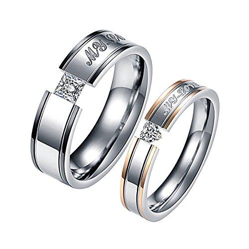 KY Jewelry Juego de anillos de acero inoxidable con grabado My Love para parejas, anillos de compromiso para él y ella