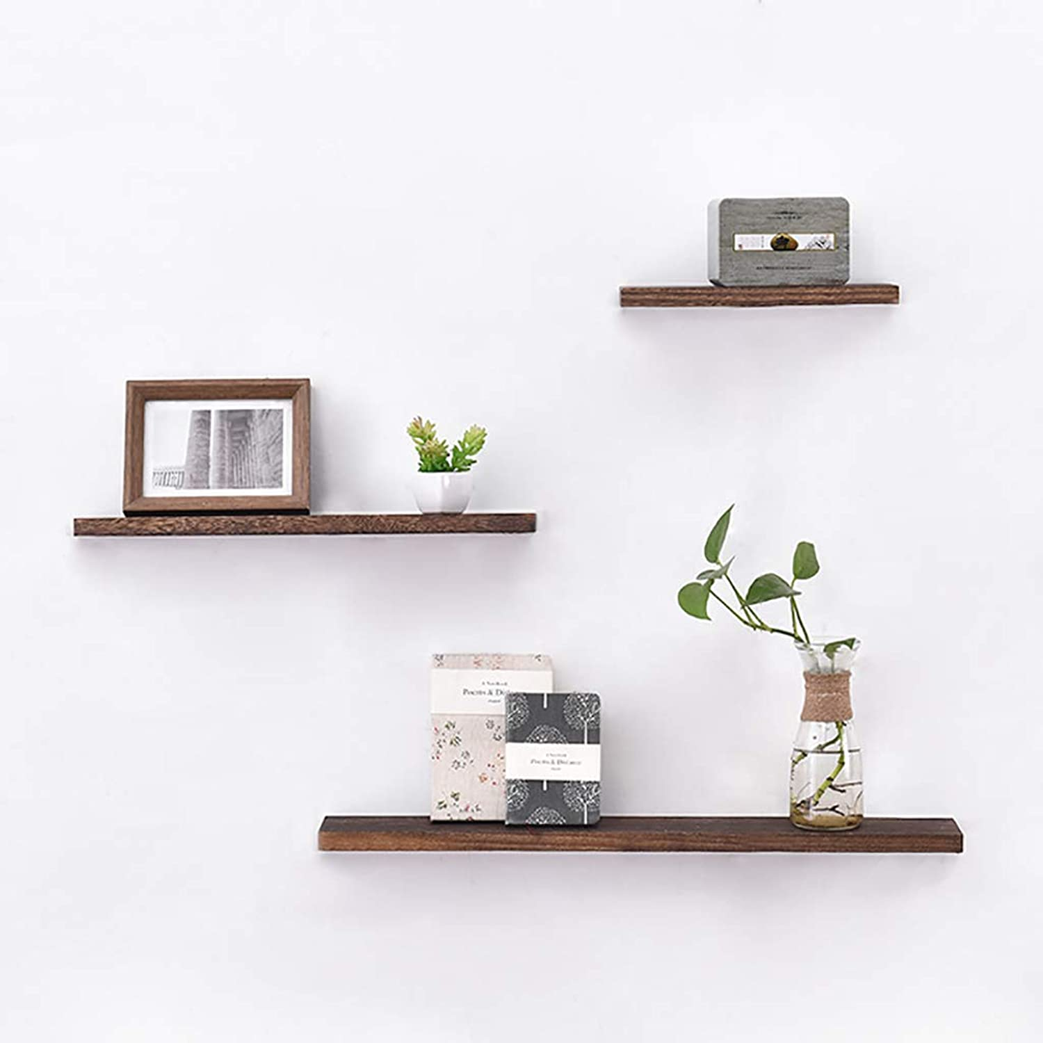 CD Rack Floating Unit Frame Wall Bookshelf Separator Wood Wall Shelf Wall-Mounted Storage Rack Wall Decoration Retro Style