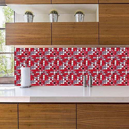 Azulejos AdhesivosCuadrado Pequeño Blanco RojoVinilosCocinaAzulejosAntisalpicadurasVinilosBañoAzulejosImpermeableVinilosdeparedDecorativosPinturaparaAzulejosAdhesivodePared 10x10cm