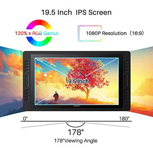 HUION Kamvas Pro 20 2019 Tableta gráfica con Pantalla - 2019 Versión 19.5 Pulgadas AG Glass HD Full Laminated Pantalla, 8192 Niveles Pluma sin Batería, 16 Teclas de Acceso Directo y 2 Barras Táctiles
