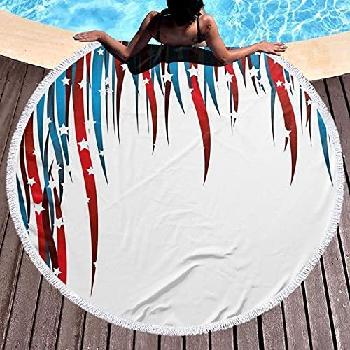 Toalla de playa redonda de microfibra, manta de playa, diseño de estrellas y rayas remolinadas, composición ligera, toalla de playa para mujeres y hombres de 59 pulgadas