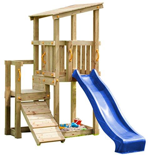 Blue Rabbit 2.0 Spielturm CASCADE mit Rutsche 2,30 m + Kletterrampe Spielhaus Kletterturm Spielplatz Kiefer MASSIVHOLZ imprägniert (Blau)