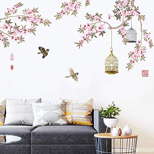M ACHOOSE Cherry Blossom Wall Decals Wall Stickers Peel and Stick Wall Decal Home Décor Stickers ampMurals Wall Decor for Home Bedroom Living Room Wall Decaoration