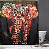 Tenda da doccia con elefante indiano bohémien, incantevole animale selvatico realistico, elefante africano, tenda da doccia per bagno, 70 x 70 pollici