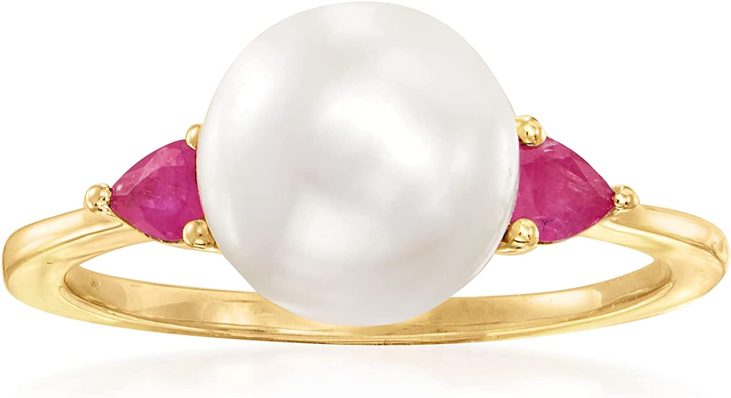 Ross-Simons 8mm Cultured Pearl and .20 ct. t.w. Ruby Ring in 14kt Yellow Gold