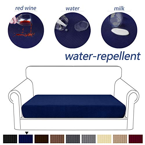 Granbest Premium Water-Repellent Couch Seat Cushion Cover, High Stretch Jacquard Fabric Sofa Seat Slipcover Protectors (Blue, Loveseat Cushion)