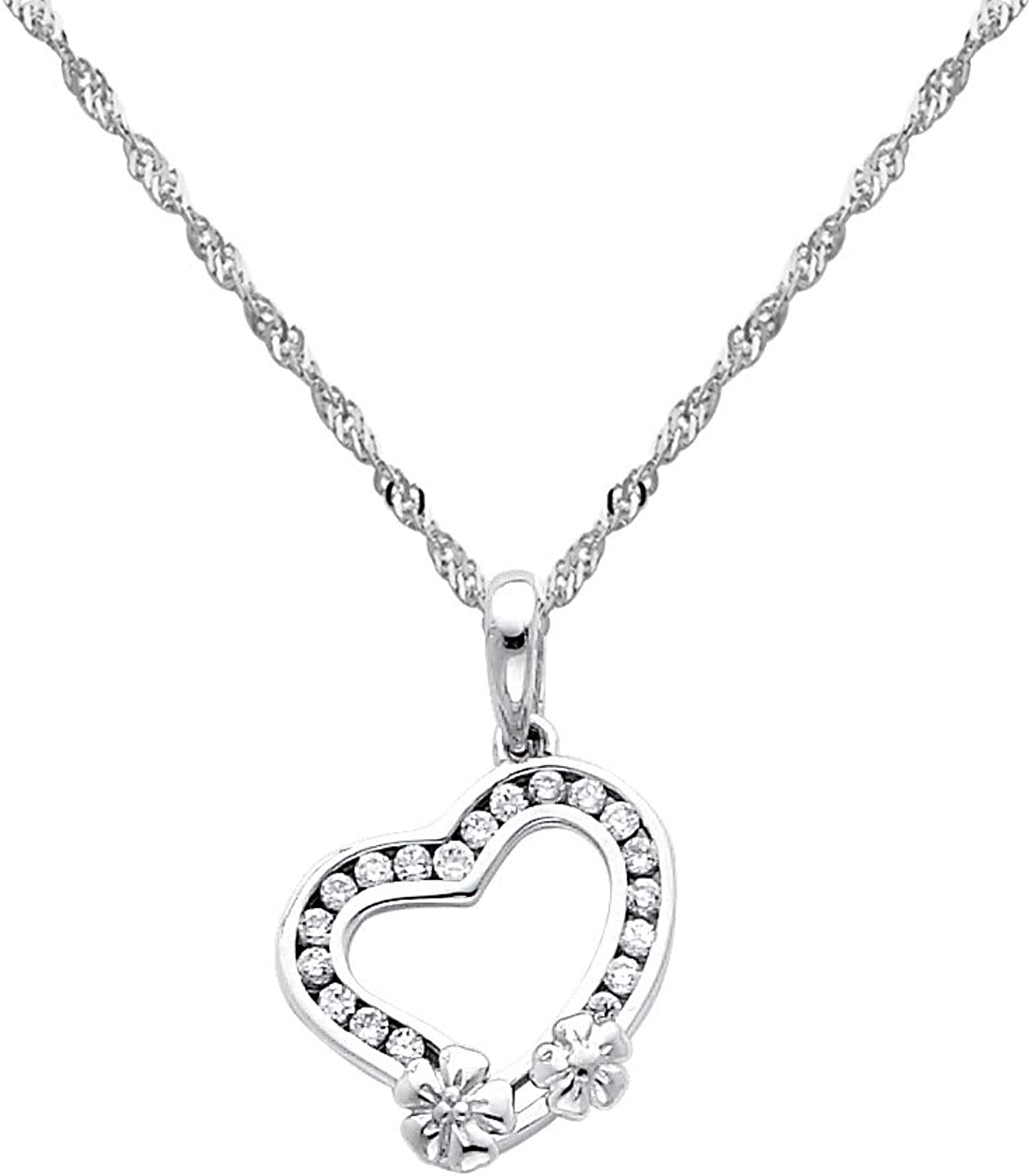 14k White gold Heart CZ Charm Pendant with 1.2mm Singapore Chain Necklace