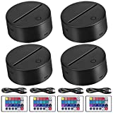 4 Pack 3D Night LED Light Lamp Base + Remote Control + USB Cable, EEEKit 16 Colors Light Show Display Stand for Acrylic and Plexiglass, Decorative Lights for Room Shop Restaurant (Black)