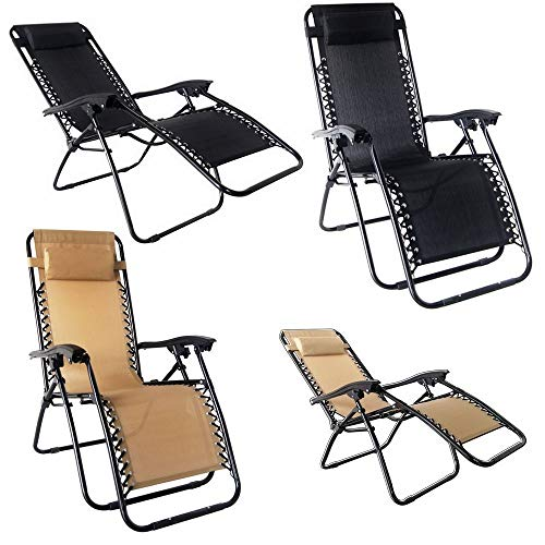 OKSLO 2x zero gravity chairs lounge/outdoor yard chairs beach black Model (9057-14954-8584-10589)